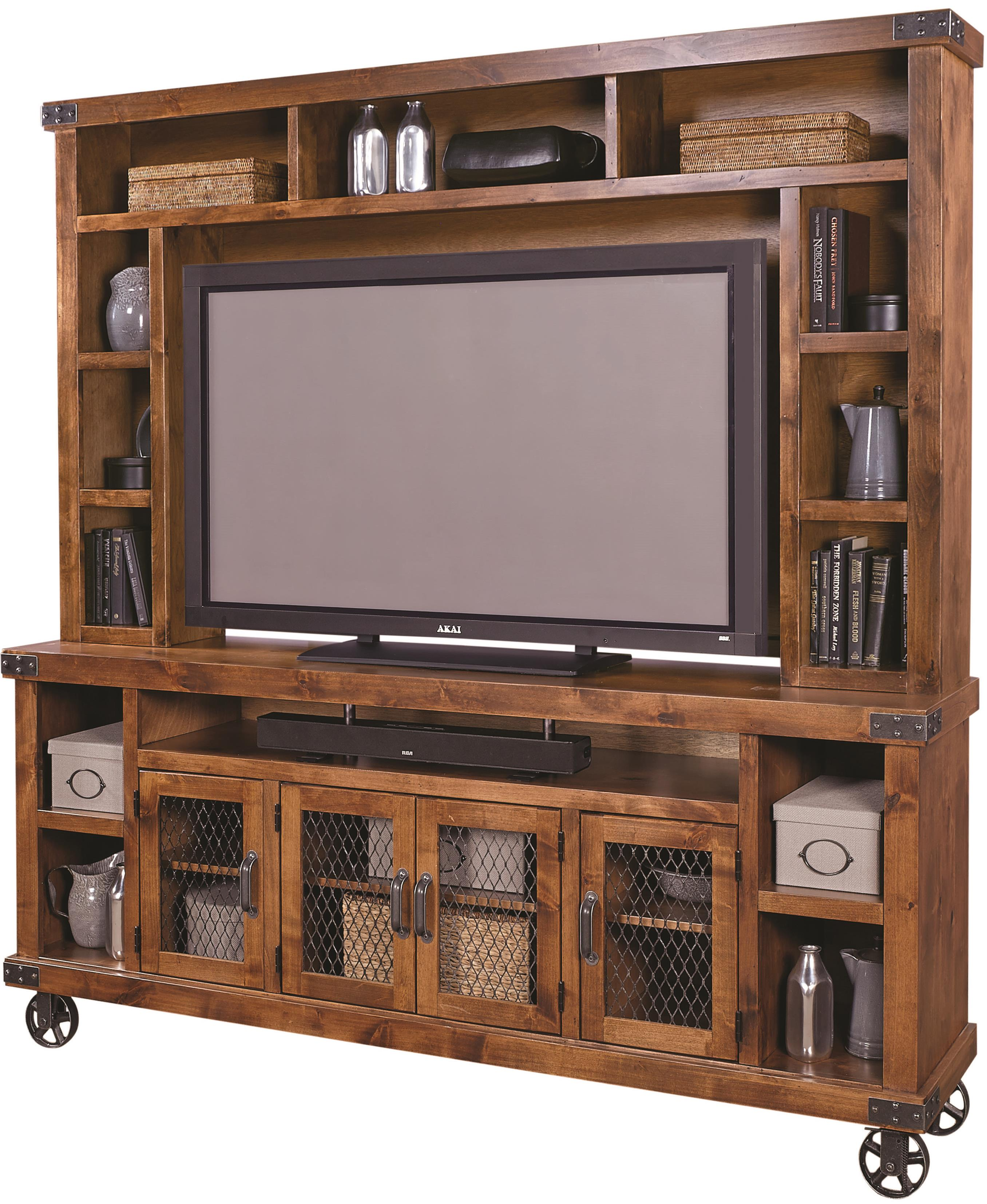 "Industrial 84"" Console with Hutch by Aspenhome at Stoney Creek Furniture"