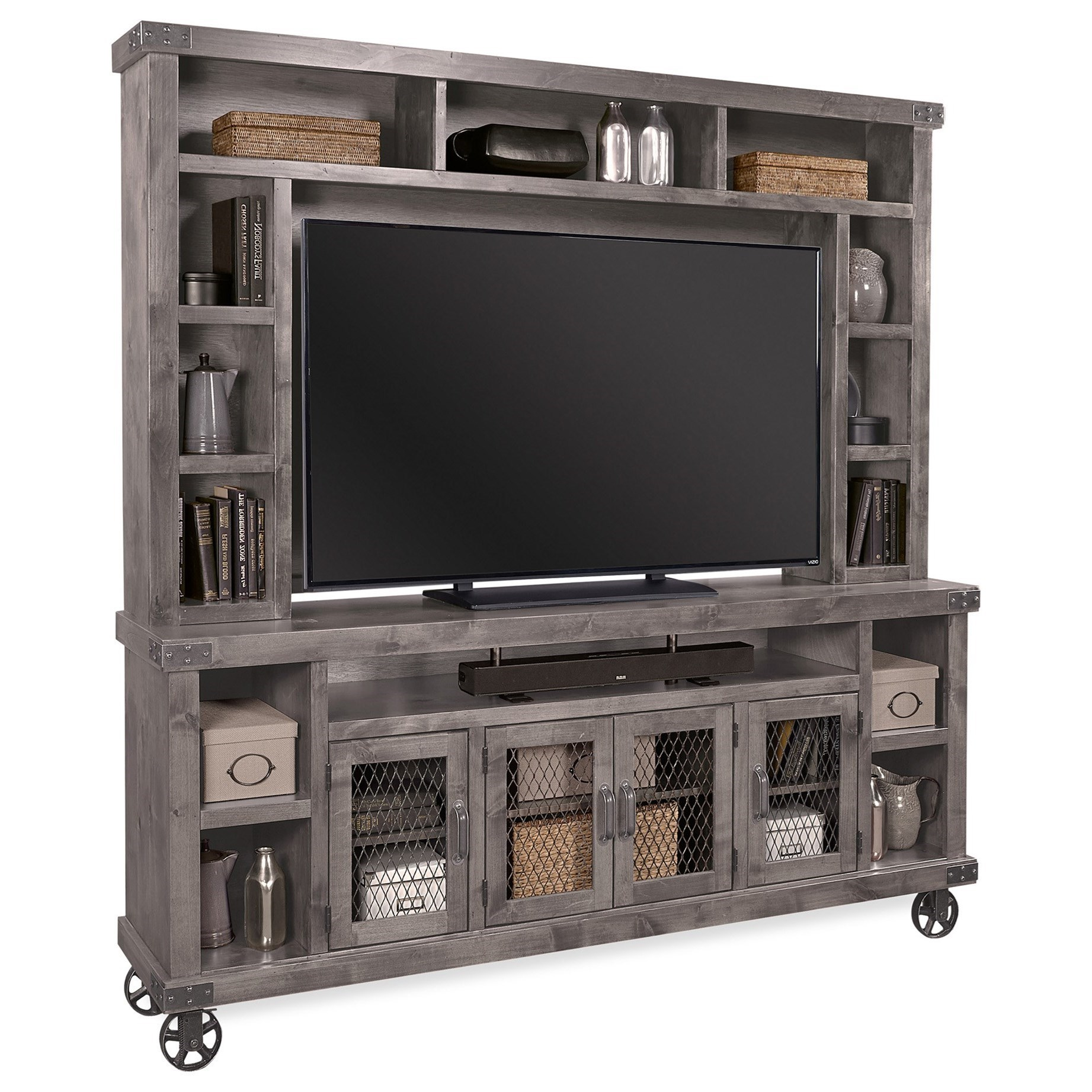 """Industrial  84"""" Console with Hutch by Aspenhome at Walker's Furniture"""
