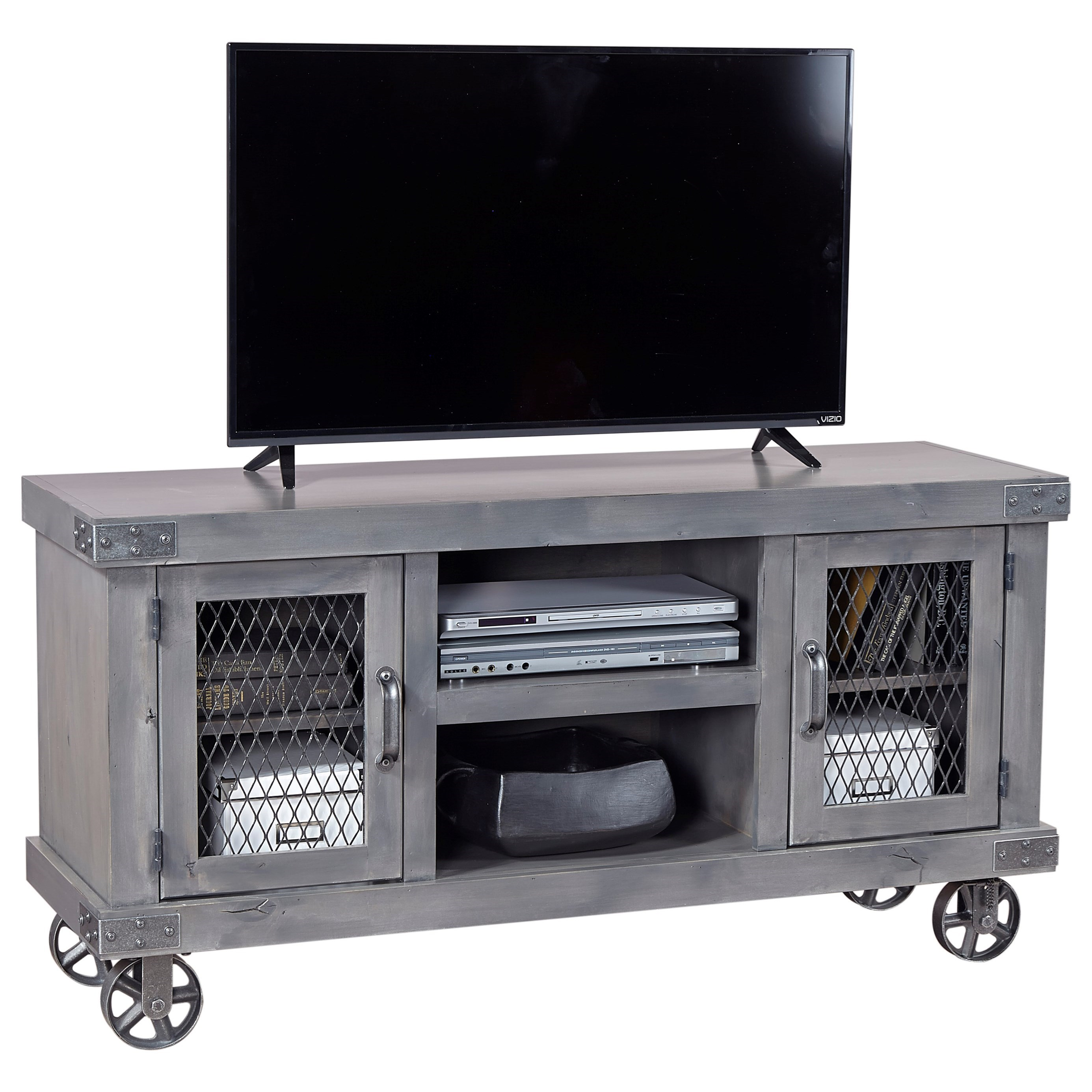 """Industrial  55"""" Console by Aspenhome at Walker's Furniture"""