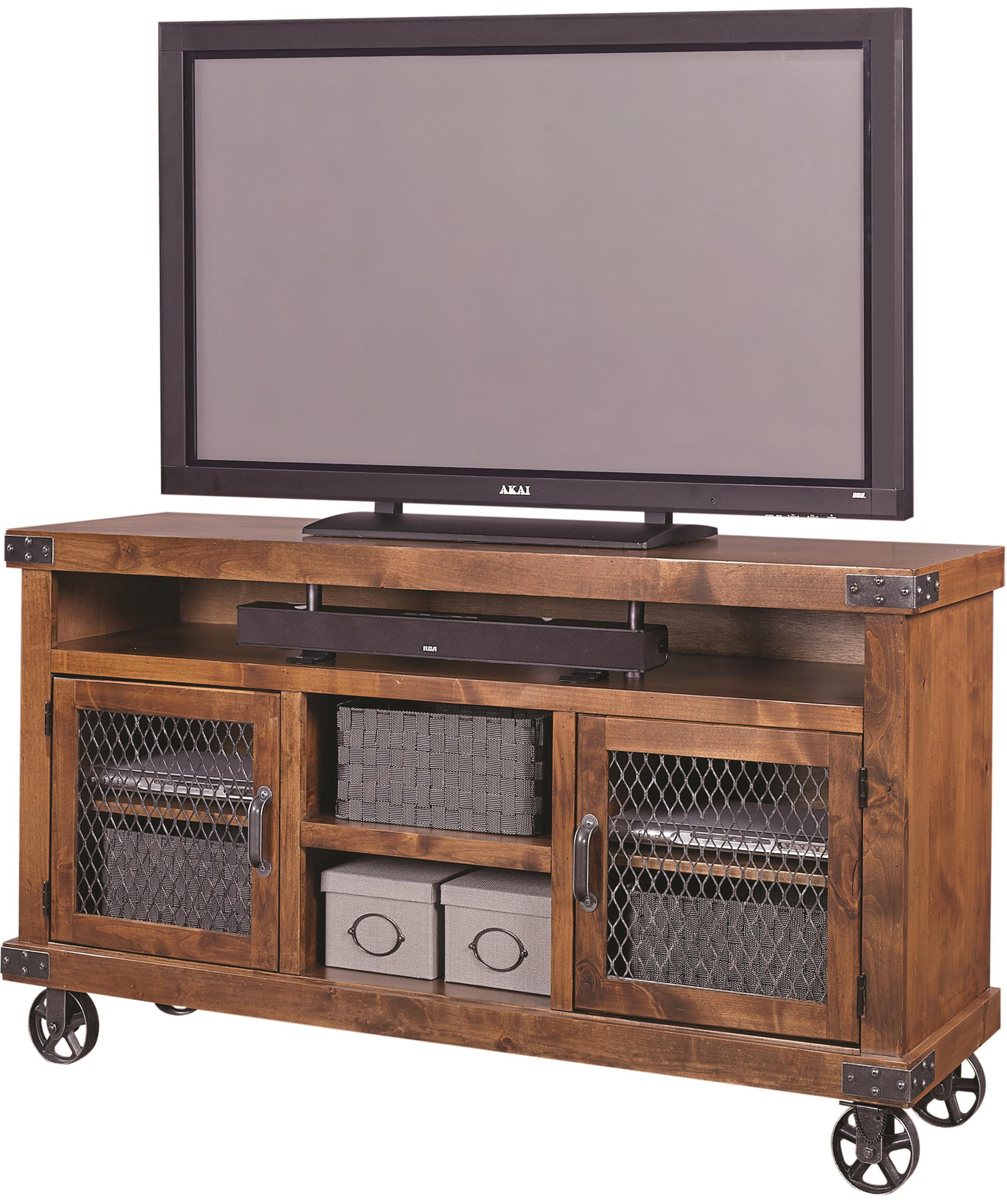 """Industrial 65"""" Console  by Aspenhome at Walker's Furniture"""