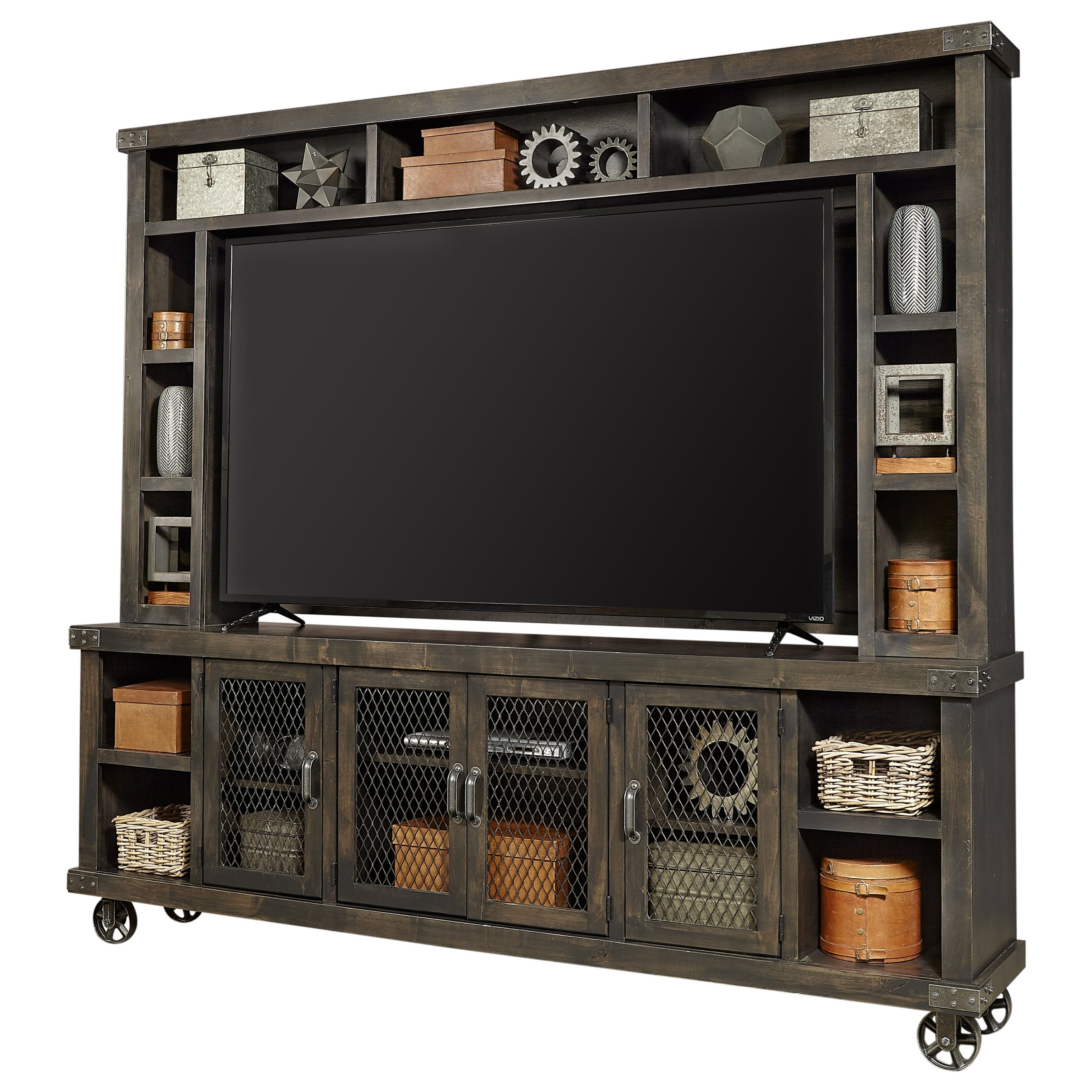 "Industrial 97"" Console & Hutch by Aspenhome at Stoney Creek Furniture"