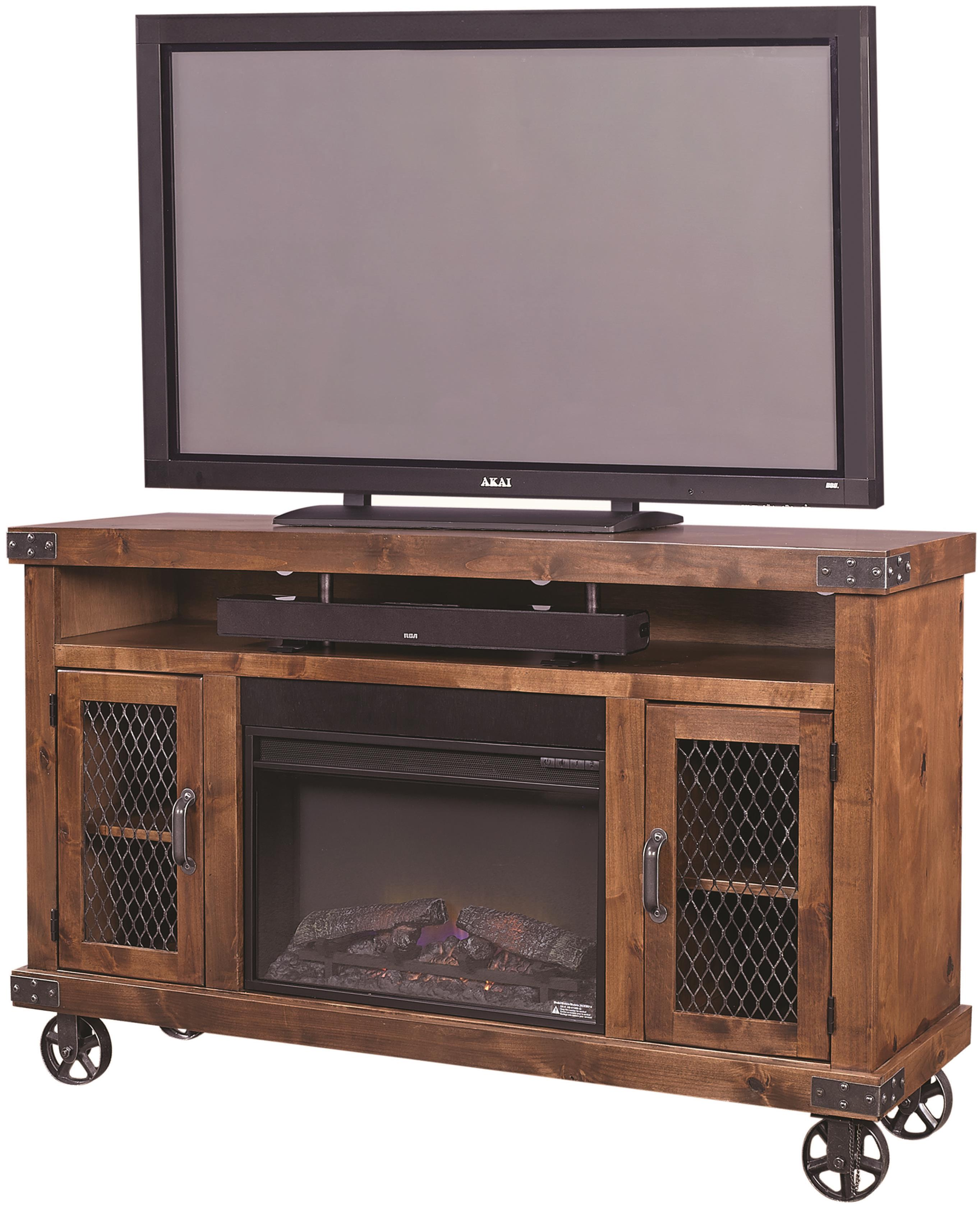 """Industrial 62"""" Fireplace Console  by Aspenhome at Walker's Furniture"""