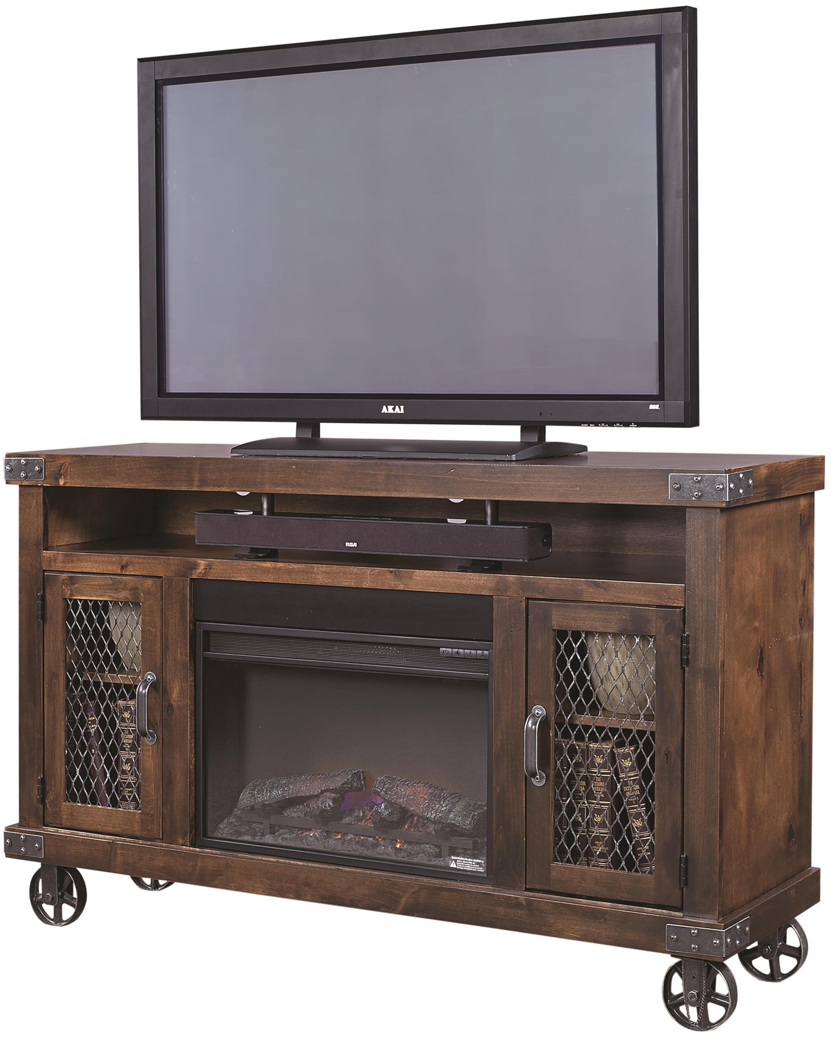 """Industrial 62"""" Fireplace Console  by Aspenhome at Baer's Furniture"""