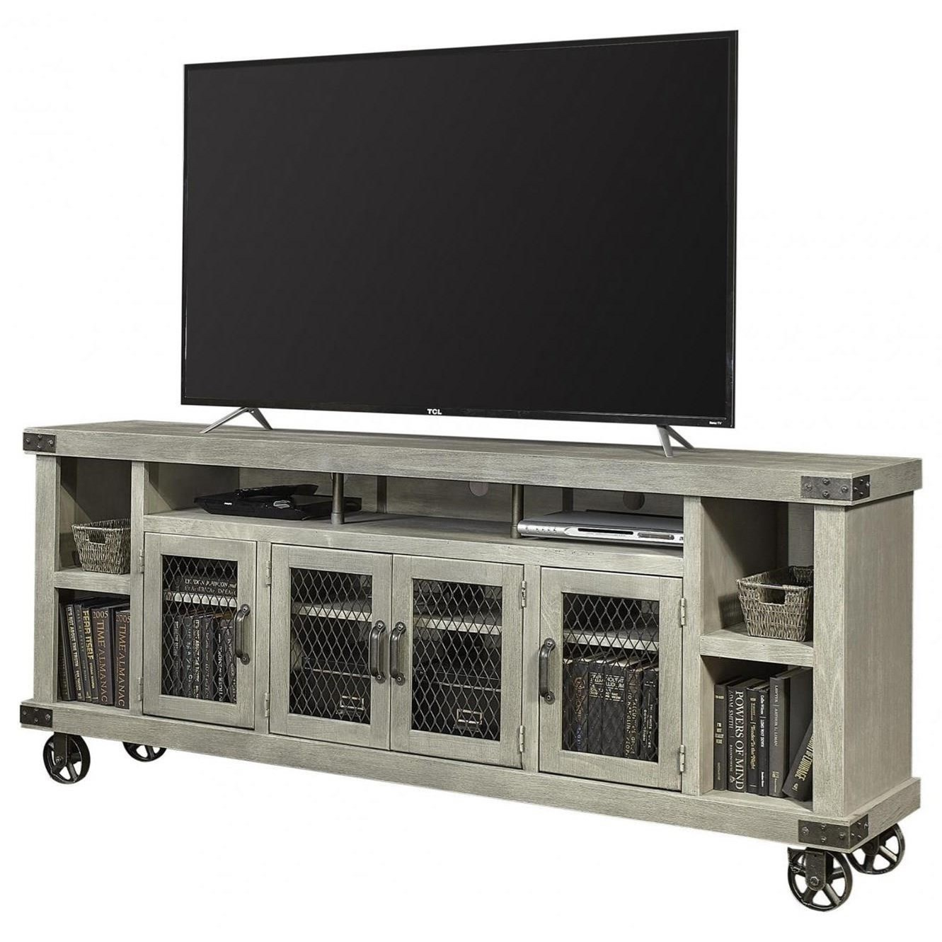 """Industrial 84"""" Console  by Aspenhome at Walker's Furniture"""