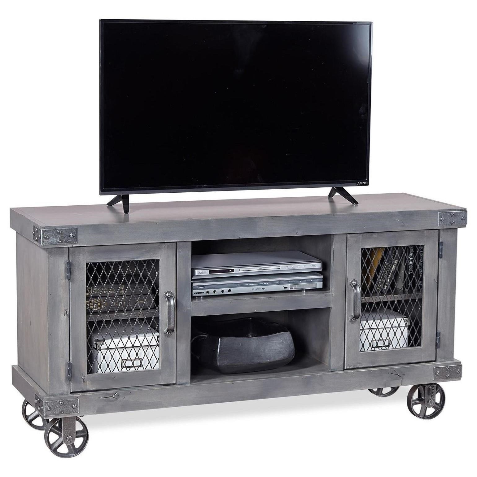 "Industrial 55"" Console by Aspenhome at Walker's Furniture"