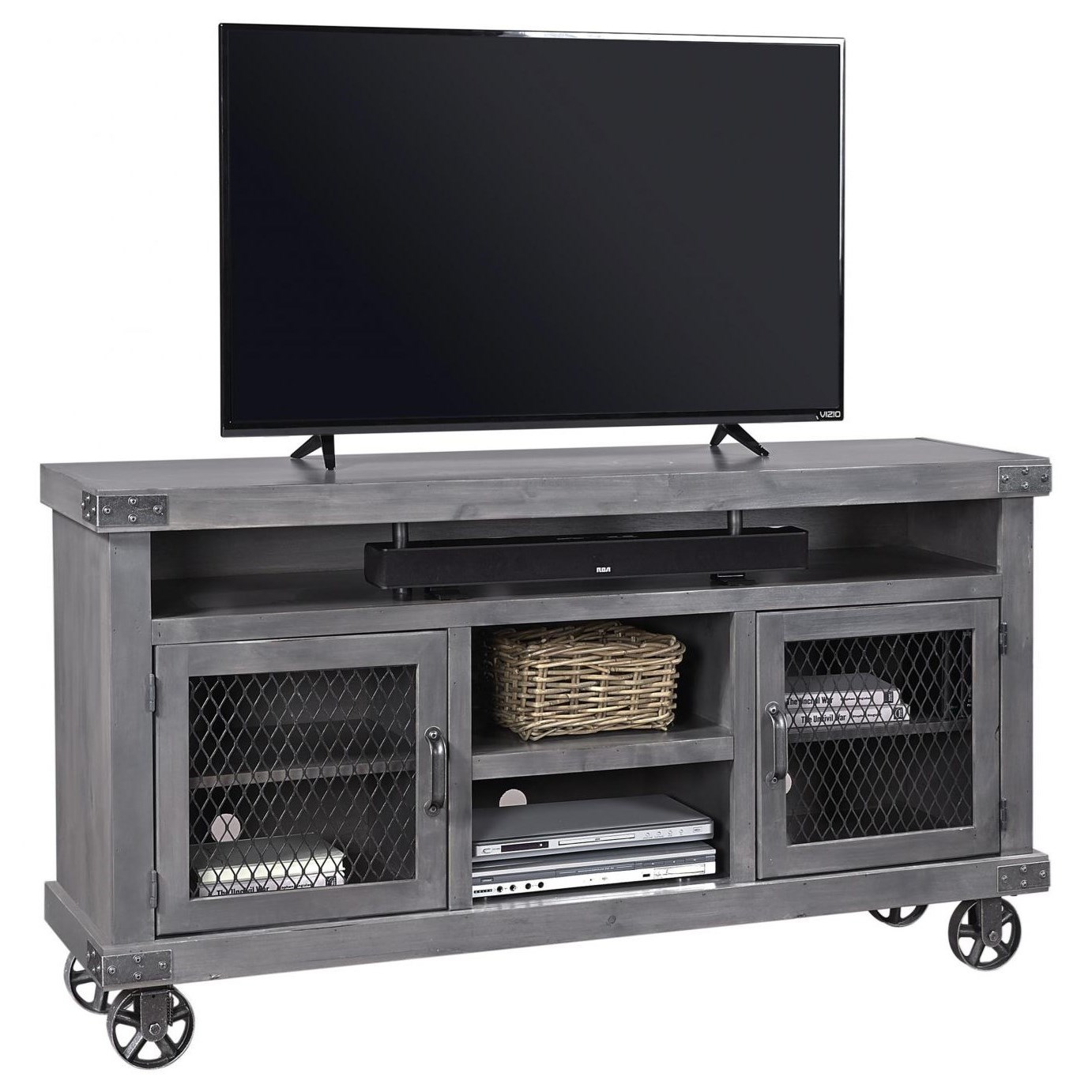 "Industrial 65"" Console  by Aspenhome at Walker's Furniture"