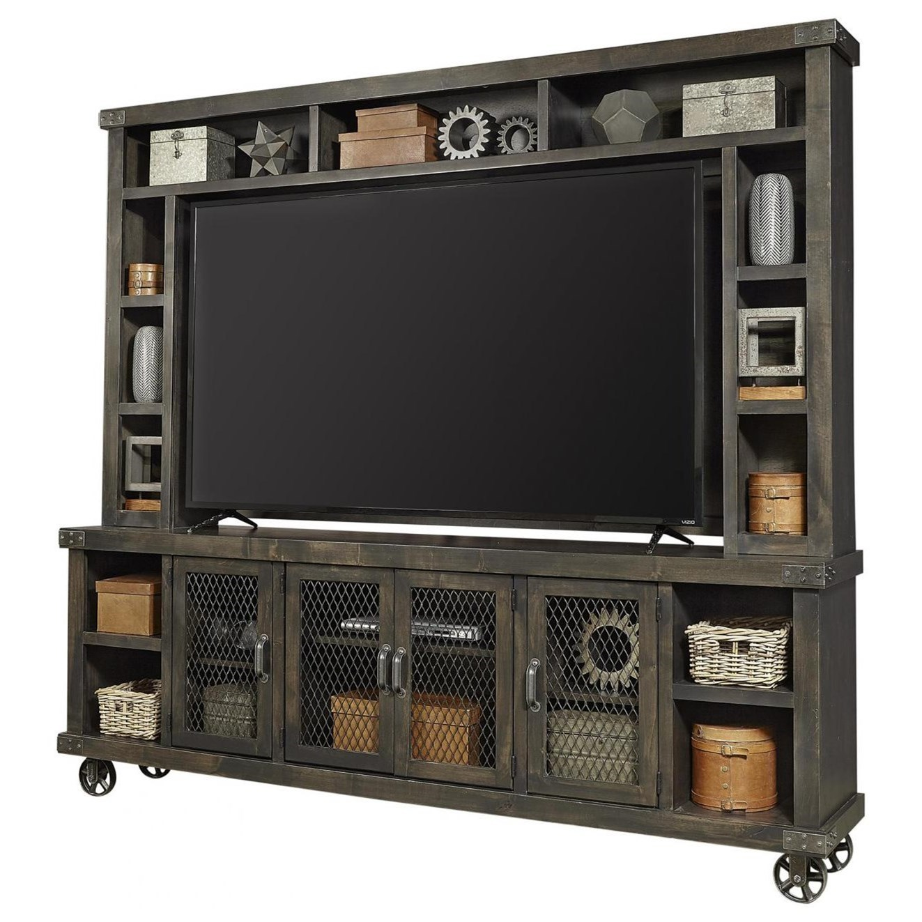 """Industrial 96"""" TV Stand with Hutch by Aspenhome at Stoney Creek Furniture"""