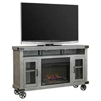 "Industrial 62"" Fireplace Console  by Aspenhome at Wilcox Furniture"