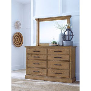 Transitional 8 Drawer Dresser and Mirror Set with Felt and Cedar-Lined Drawers