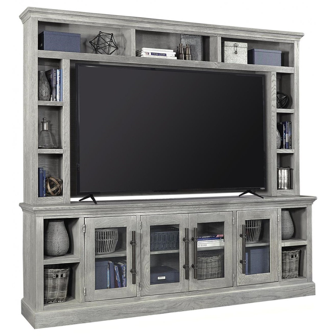"""Manchester 97"""" Console and Hutch by Aspenhome at Walker's Furniture"""