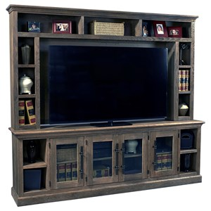 "97"" Console and Hutch with Glass Doors"