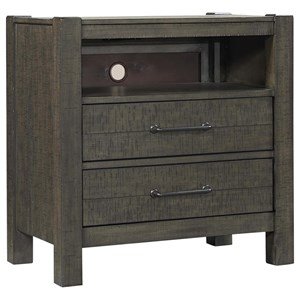 Transitional 2-Drawer Nightstand with Outlets