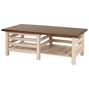 """54"""" Cocktail Table with Open Bottom Shelving"""