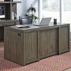 "Contemporary 66"" Executive Desk with Locking File Cabinets and AC Power Outlets"