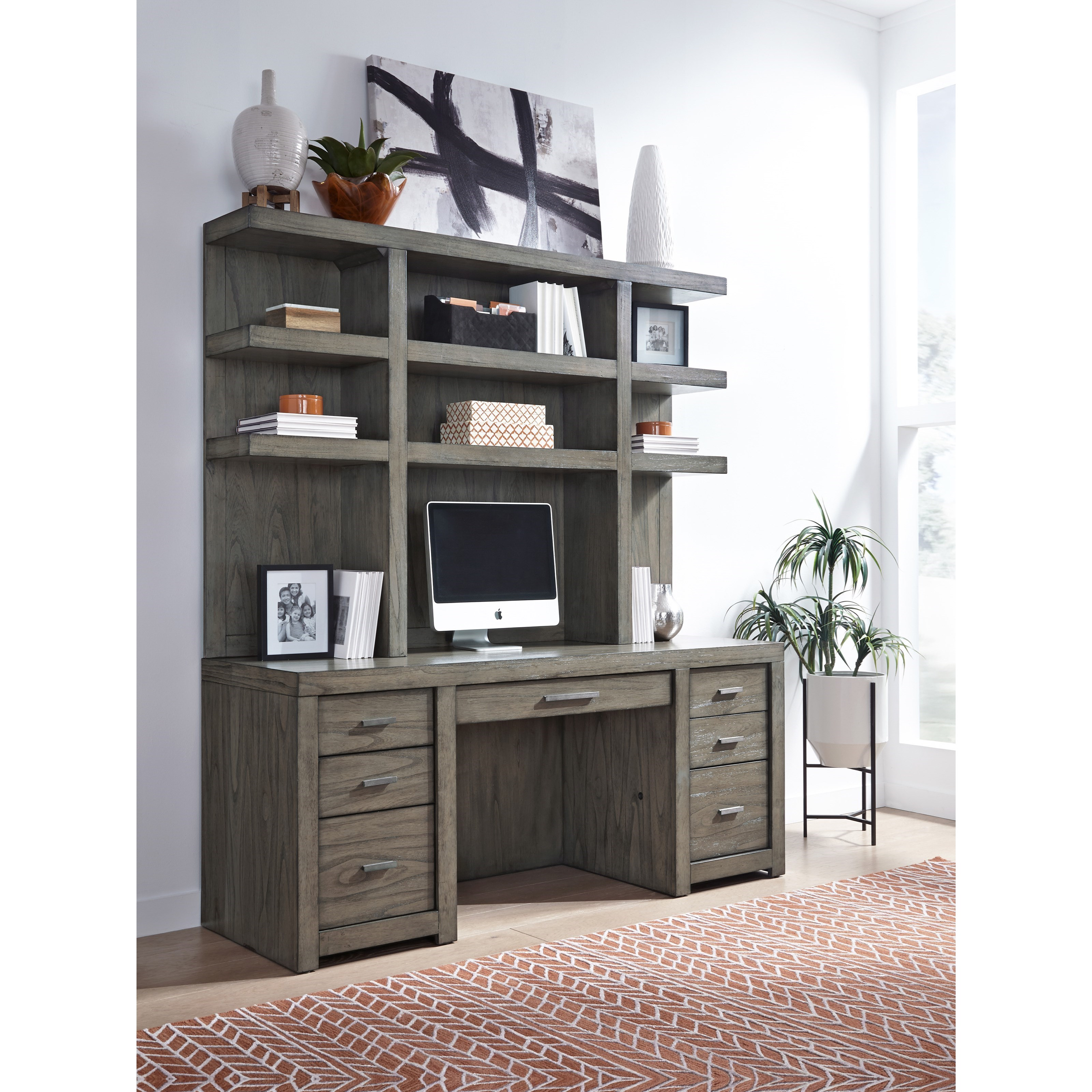 Modern Loft Credenza and Hutch by Aspenhome at Walker's Furniture