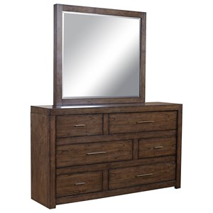 Asymmetrical Dresser and Mirror Set