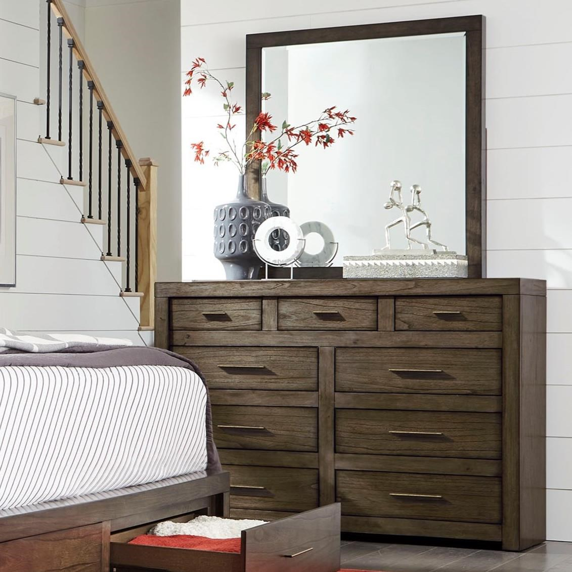 Modern Loft Chesser and Mirror Set by Aspenhome at Walker's Furniture