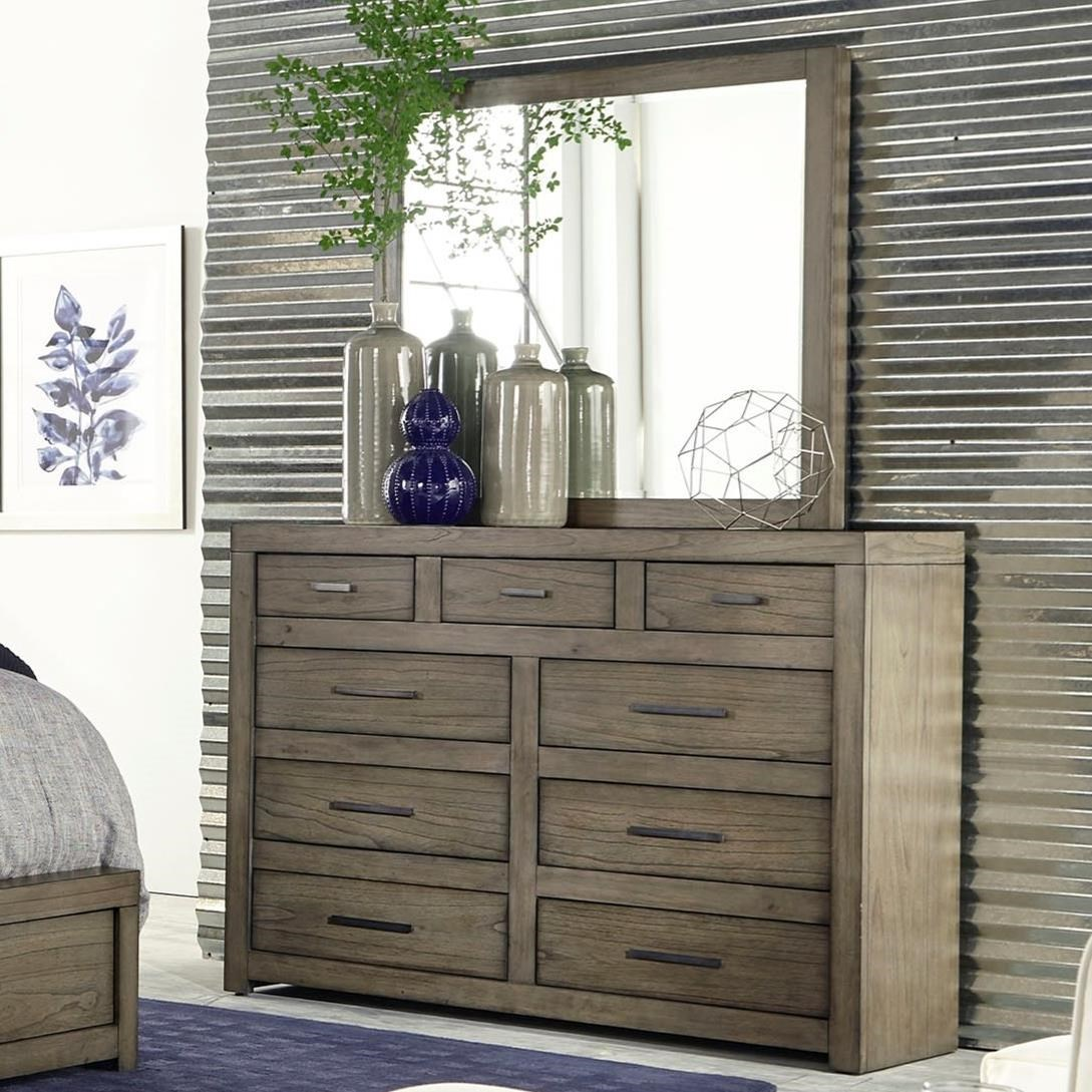 Modern Loft Dresser & Mirror by Aspenhome at Red Knot