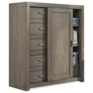 Sliding Door Wardrobe Chest with Cedar-Lined Bottom Drawer