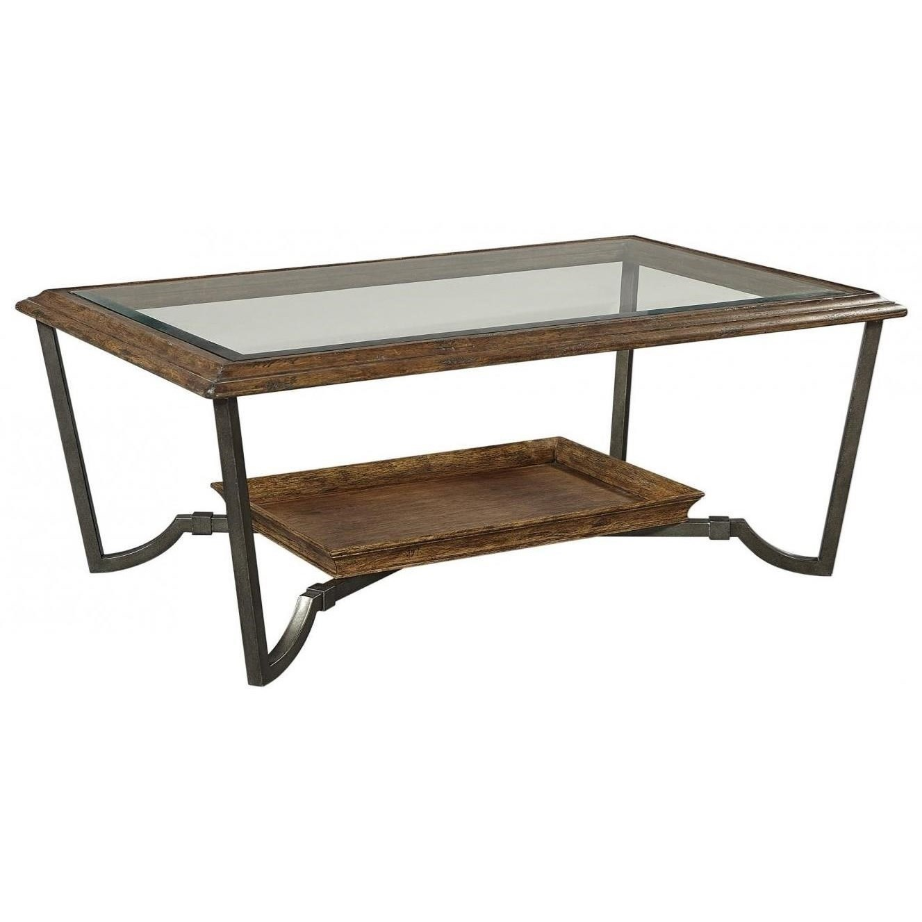 Mosaic Cocktail Table with Glass Top by Aspenhome at Walker's Furniture