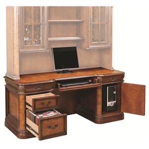 Traditionally Styled Double Pedestal Kneehole Credenza with Locking File Drawer and CPU Storage