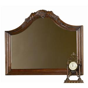 Arched Landscape Mirror with Grape Leaf Crown Moulding