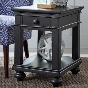 One Drawer Chairside Table with Turned Feet