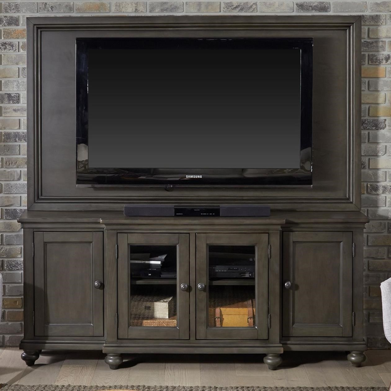 """Oxford 75"""" Media Console and TV Backer by Aspenhome at Walker's Furniture"""