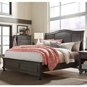 Transitional California King Sleigh Bed with USB Ports