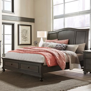 Transitional King Sleigh Storage Bed with USB Ports