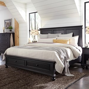 Transitional Queen Panel Storage Bed with USB Ports