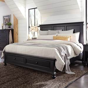 Transitional King Panel Storage Bed with USB Ports