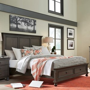 Transitional California King Panel Storage Bed with USB Ports