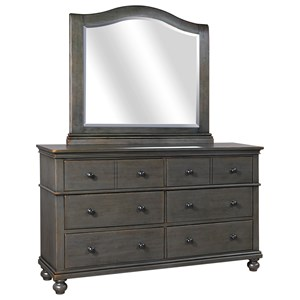 Transitional 6 Drawer Dresser and Mirror Set with Cedar and Felt Lining