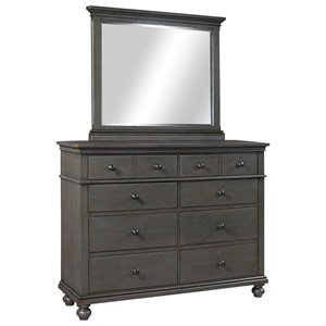 Transitional 8 Drawer Chesser and Mirror Set with Drop-Front Drawer