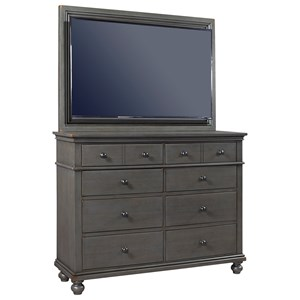 Transitional Media Chest with TV Mount and Drop-Front Drawer