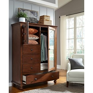 Transitional Door Chest with Removable Shelves and Clothing Rod