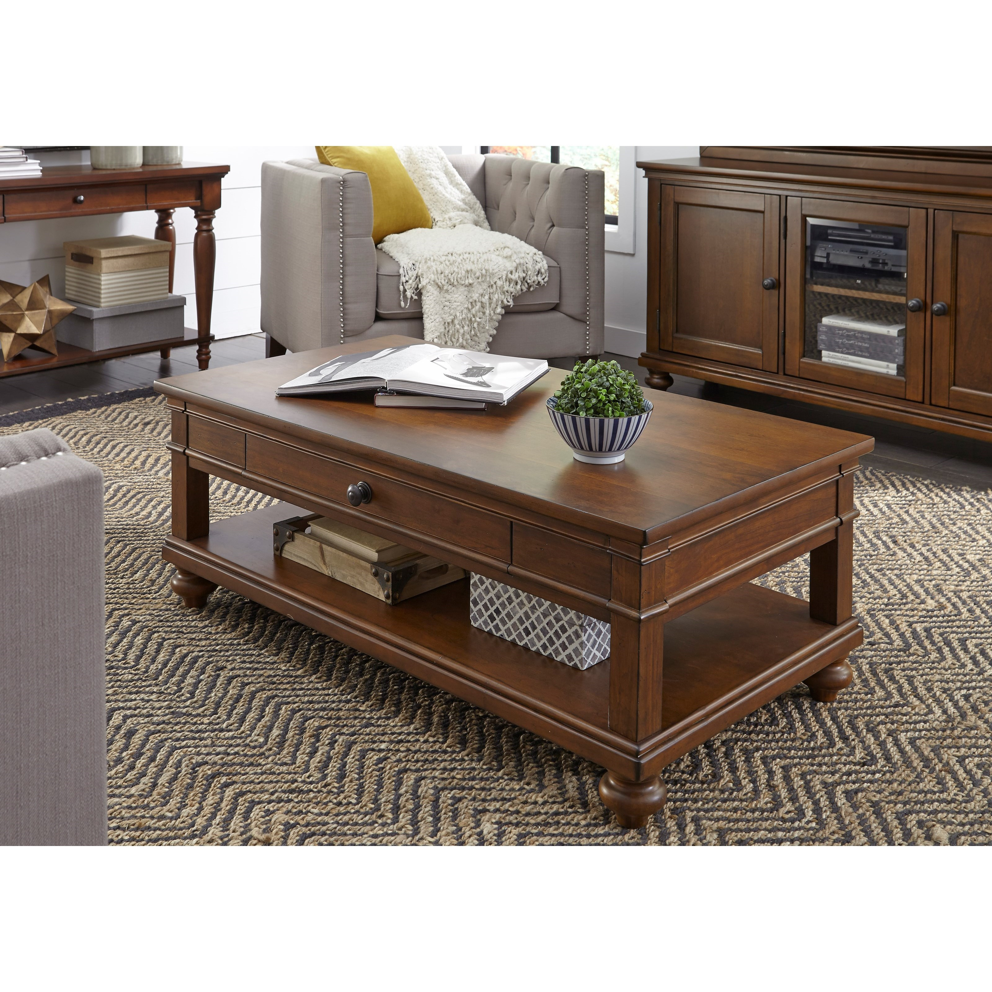 Oxford Cocktail Table with Casters by Aspenhome at Walker's Furniture