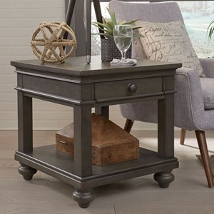 One Drawer End Table with Turned Feet