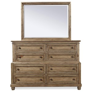 Traditional 8-Drawer Chesser and Mirror Combination with Felt-Lined Top Drawers