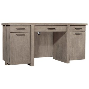 Contemporary Double Pedestal Desk with Wireless Charging Pad