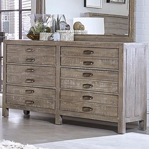Rustic Six Drawer Dresser with Metal Handle Hardware