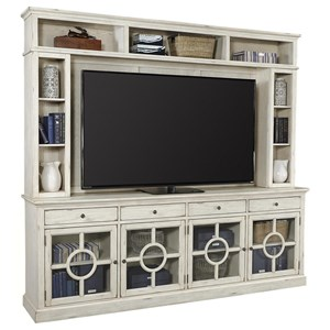 """96"""" Cottage Style TV Stand and Hutch with Storage"""