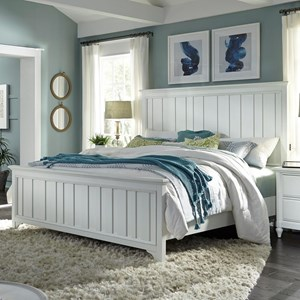 California King Farmhouse Panel Bed with USB Charging Ports