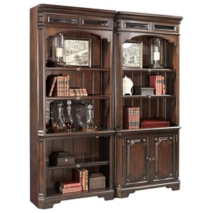 Traditional Open Bookcase with Seed Glass Detail and LED Display Lighting