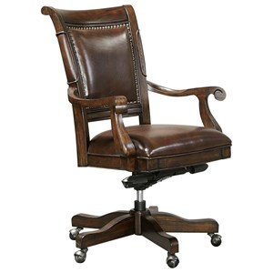 Traditional Swivel Office Chair with Gas Seat Lift and Leather Upholstery