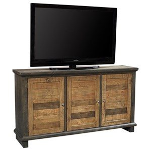 """Rustic 65"""" Console with Adjustable Shelving and Wire Management"""