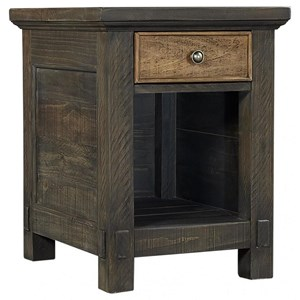 Rustic 1-Drawer Chairside Table with Lower Open Shelf