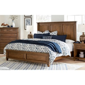 Transitional King Panel Bed with USB Charging Ports