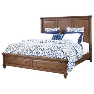 King Panel Bed with Storage Footboard and USB Charging Ports